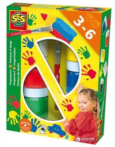 Пальчиковые краски Ses 6 цветов + кисточка