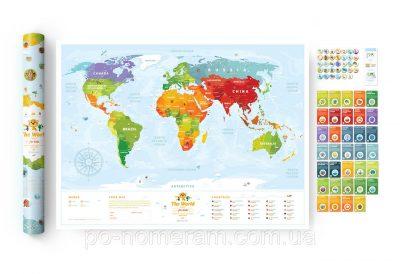 Детская скреч-карта мира Travel Map Kids Animals (животные)