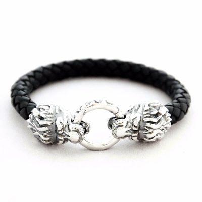 Кожаный браслет «Лев» с серебряными вставками