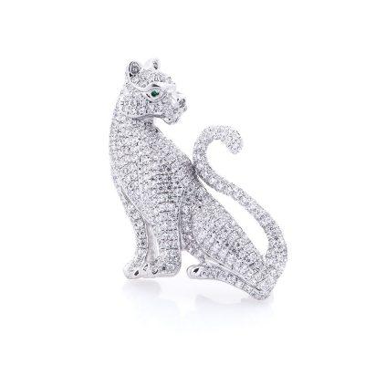 Серебряная брошь «Тигр» с фианитами