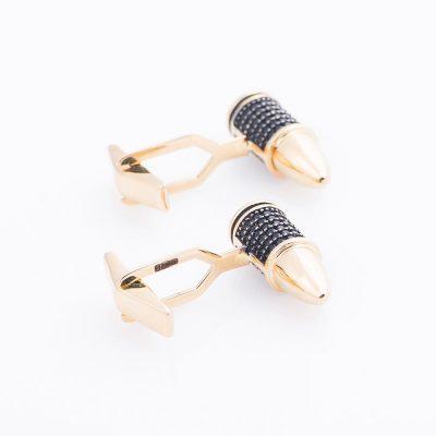 Золотые запонки «Пули» с фианитами