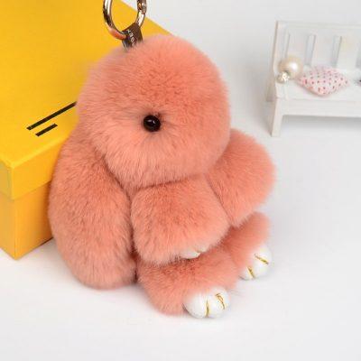 Брелок на сумку из натурального меха в виде кролика