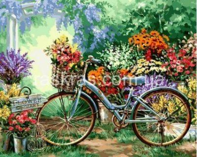 Картина раскраска «Цветочный рынок» Турбо