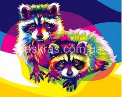 Картина-раскраска «Радужные еноты» Турбо