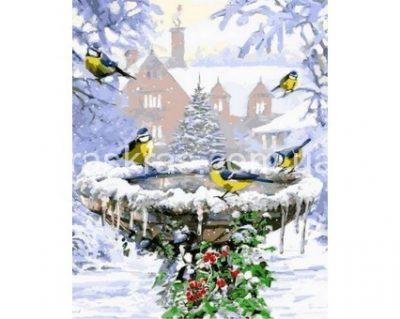 Картина раскраска «Синички и алые ягоды» Турбо