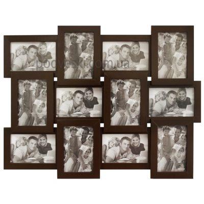 Мультирамка деревянная «Венге» на 12 фото