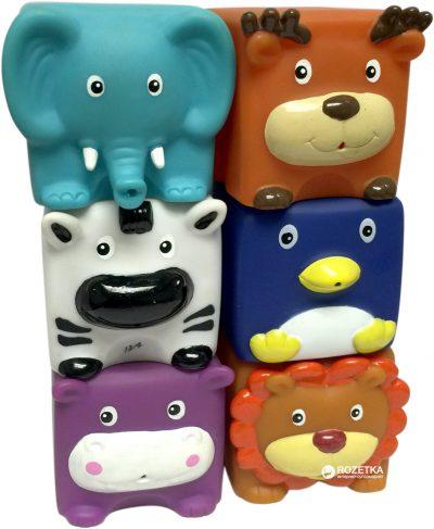 Набор игрушек для ванны - кубики Baby Team «Зверята»