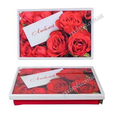 Поднос на подушке «Красные розы»
