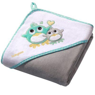 Полотенце с капюшоном BabyOno «Пингвин» велюр