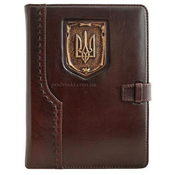 Кожаный блокнот-ежедневник «Герб Украины» коричневый