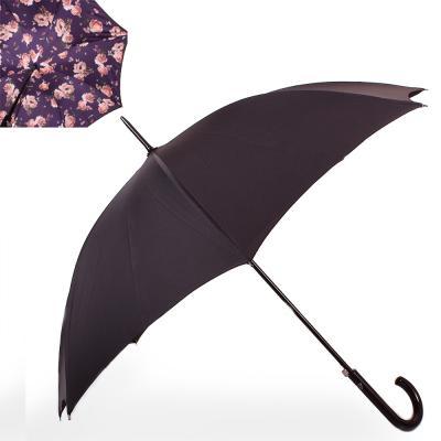 Зонт-трость женский полуавтомат с двойным куполом FULTON (FULL754-Midnight-bloom)