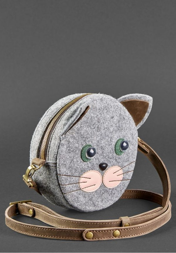 Сумка «Miss Kitty» BlankNote (фетр+кожа (орех)