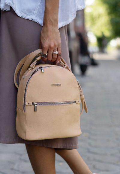 Кожаный мини-рюкзак «Kylie» BlankNote (крем-брюле)