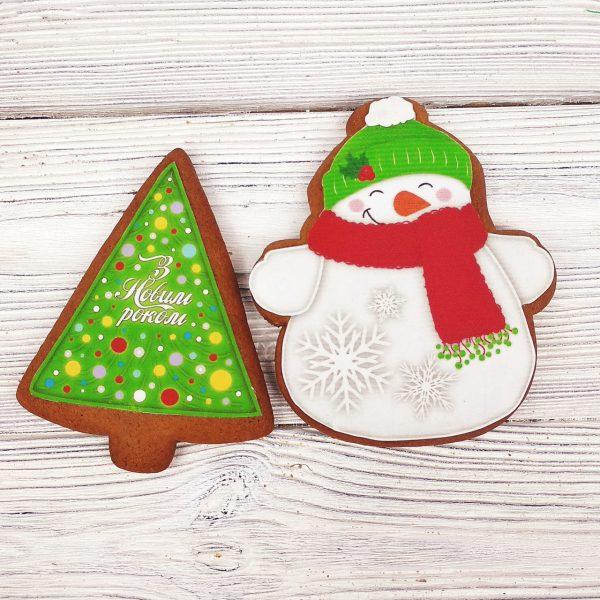Набор пряников «Снеговичок с елочкой»