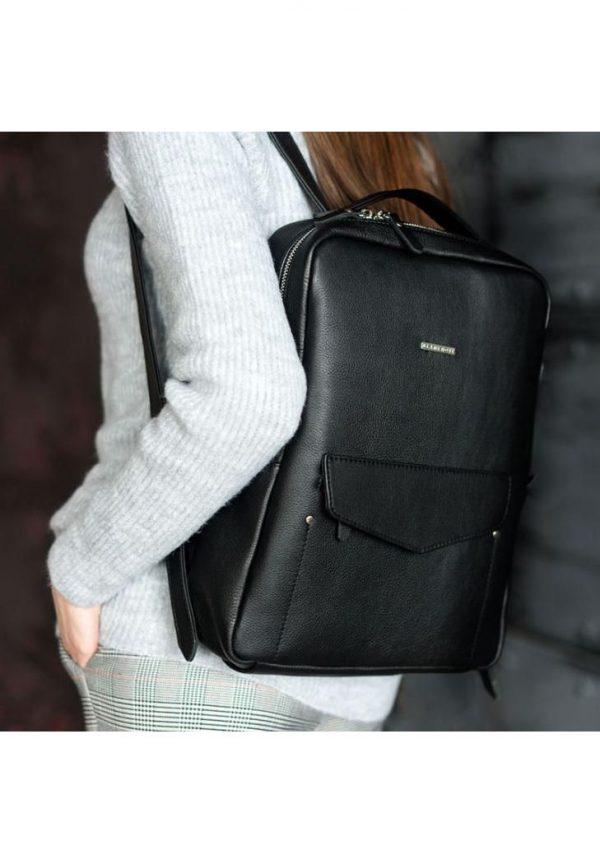 Кожаный городской рюкзак на молнии «Cooper» BlankNote (нуар)
