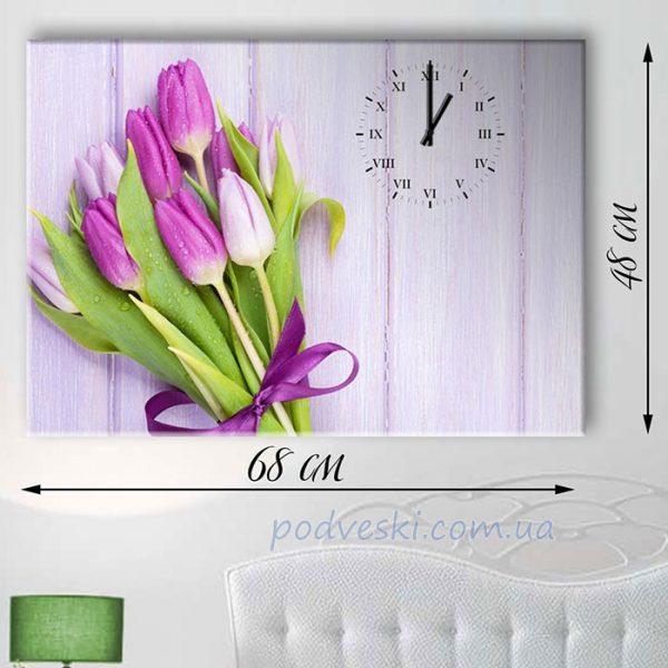 Часы настенные на натуральном холсте «Тюльпаны»