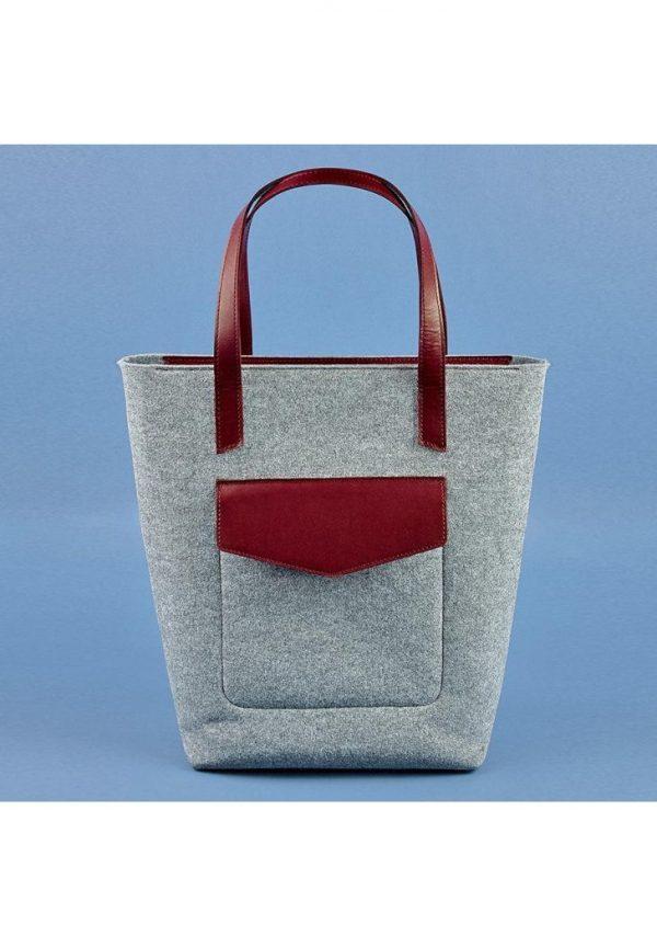 Женская сумка-шоппер «D.D.» BlankNote (фетр + кожа виноград)