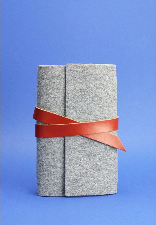 Кожаный блокнот (Софт-бук) «1.0 фетр/кожа» BlankNote (коньяк)