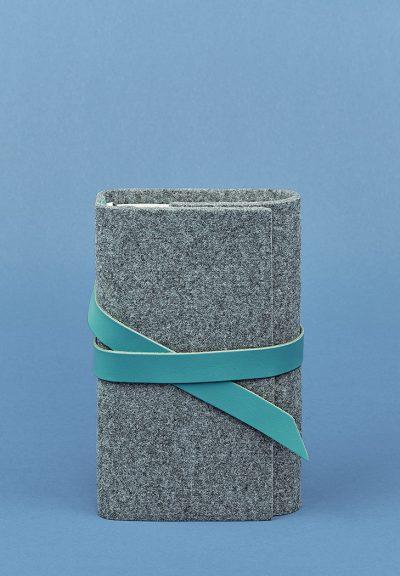 "Кожаный блокнот (Софт-бук) ""1.0 фетр/кожа) BlankNote (тиффани)"