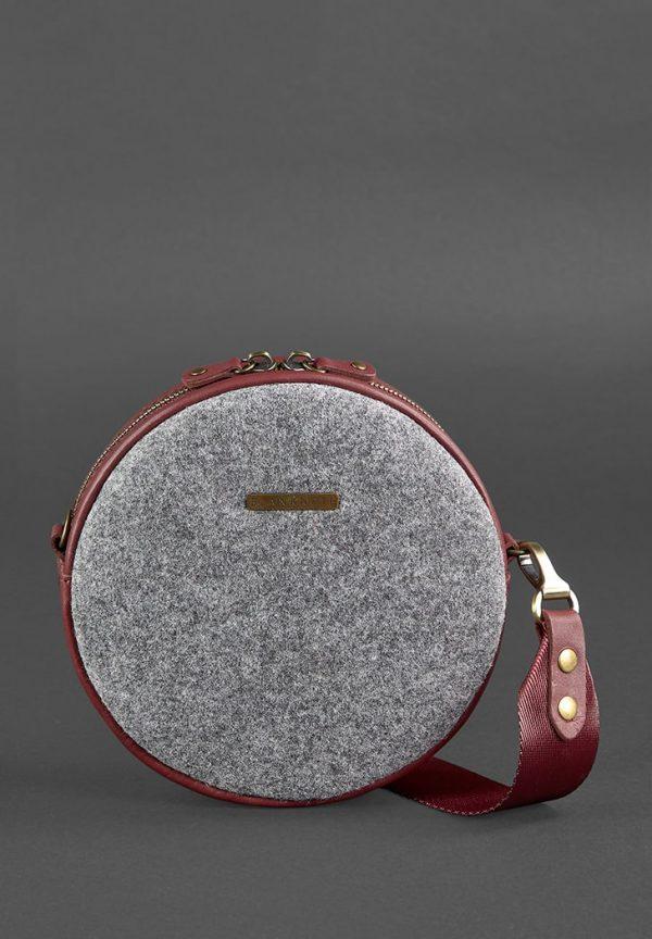 Круглая сумка «Таблетка» BlankNote (фетр, виноград)