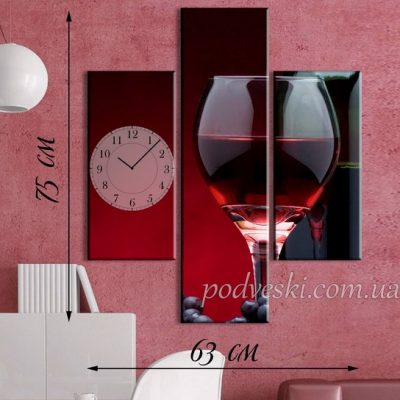 Модульная картина с часами «Бокал вина»