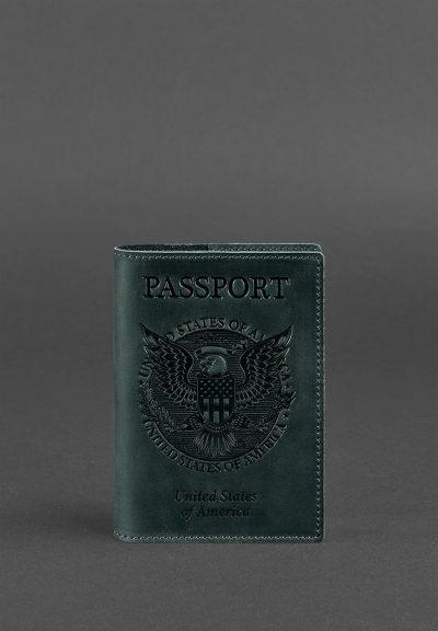Обложка для паспорта с американским гербом BlankNote (Изумруд)