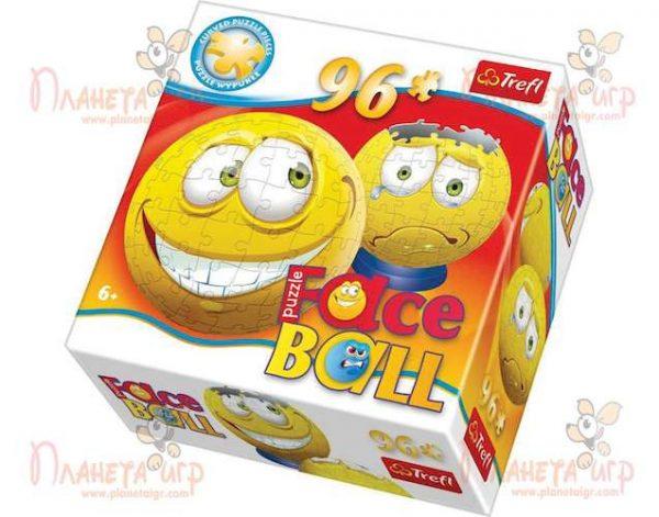 Пазл в виде 3D шара Faceball жёлтый (96 эл.)