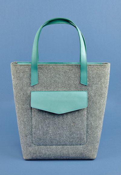 Женская сумка-шоппер «D.D.» BlankNote (фетр + кожа тиффани)