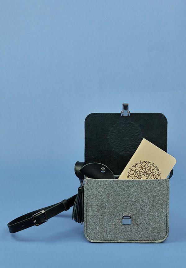 Бохо-сумка «Лилу» BlankNote (фетр+кожа графит)