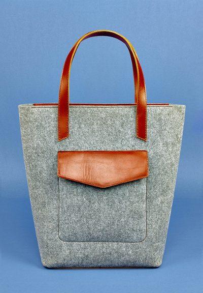 Женская сумка-шоппер «D.D.» BlankNote (фетр + кожа коньяк)