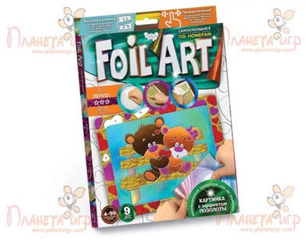 Самоклеющаяся аппликация фольгой Foil art «Медвежата»