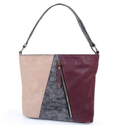 Женская сумка из качественного кожезаменителя LASKARA (LK10206-black-wine)