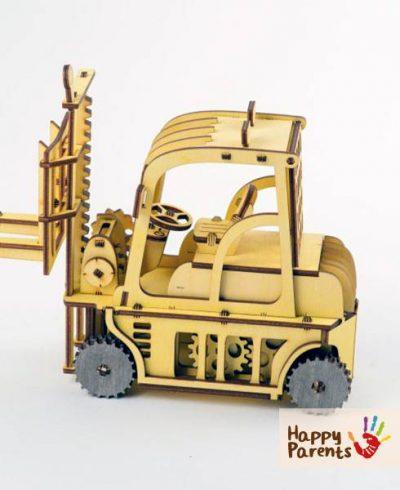 Деревянный механический пазл «Автопогрузчик»