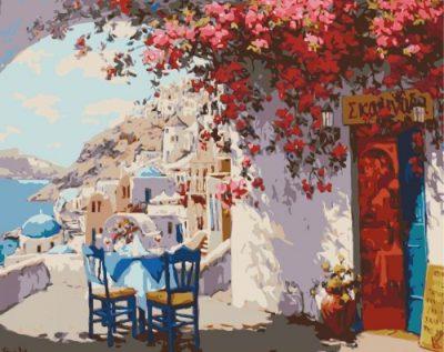 Картина по номерам «Столик на двоих в Санторини»
