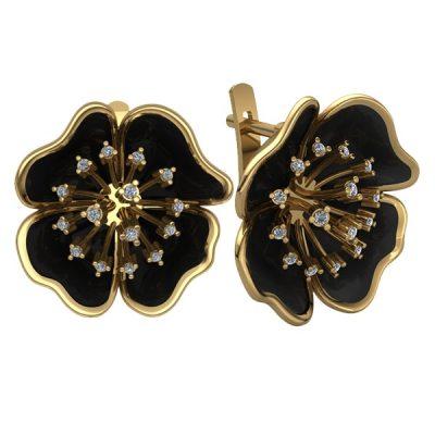 Серьги золотые в виде цветов с бриллиантами