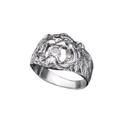 Серебряное мужское кольцо «Лев с фианитом»
