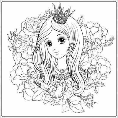 Обои-раскраски Арт-Обои «Девочка в цветах»
