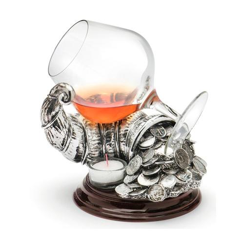 Подставка с бокалом для подогрева коньяка Chinelli «Рог изобилия»