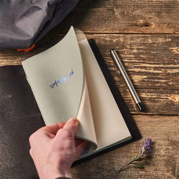 Блокнот из кожи Autograph «Угольный» глянцевый