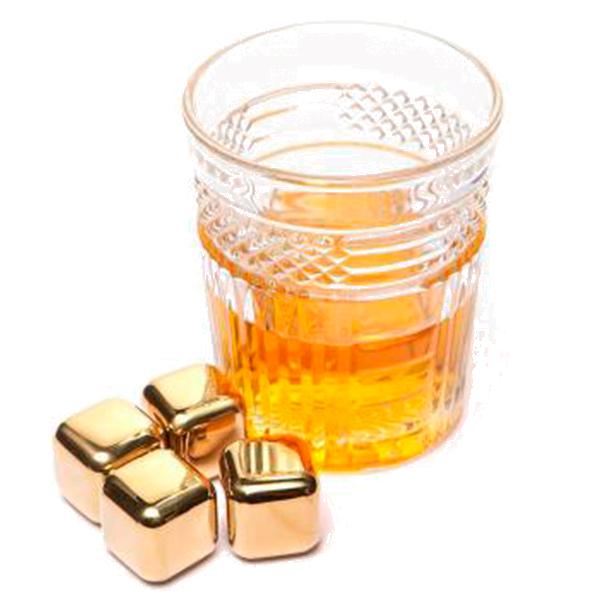 Набор золотых камней для виски (4 шт)