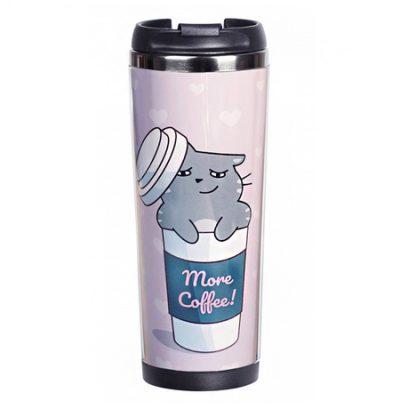 Термокружка  Ziz «Котик-кофеман»