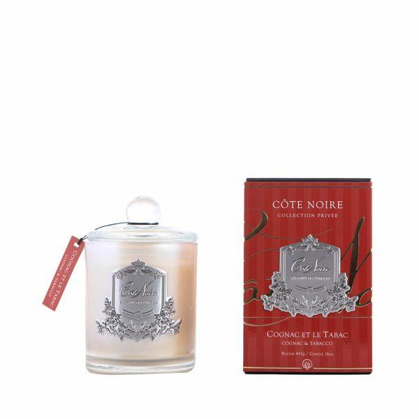 Аромасвеча «Коньяк и табак» Cote Noire серебро