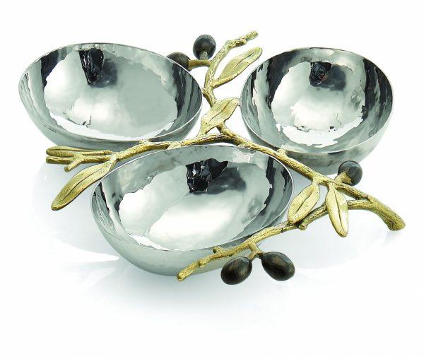 Блюдо для закусок «Olive Branch Gold» Michael Aram на 3 чаши