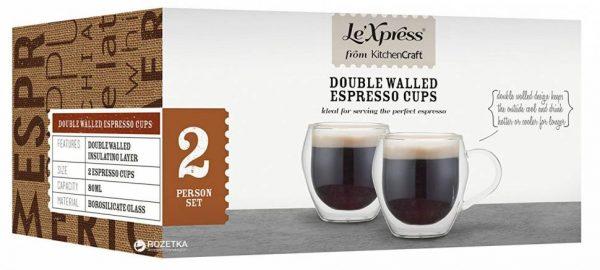 Чайные кружки «Le'Xpress» KitchenCraft с двойным стеклом (230 мл)