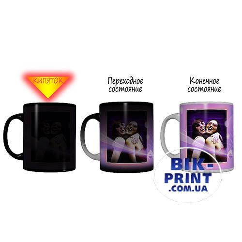 Чашка «Хамелеон» черная с вашим изображением