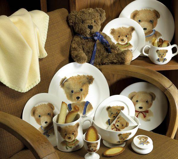 Набор детской посуды: чашка с ручками и блюдце «Ours» Gien для мальчика