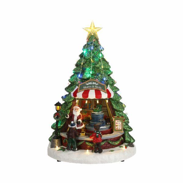 Статуэтка новогодняя «Санта и прокат коньков»