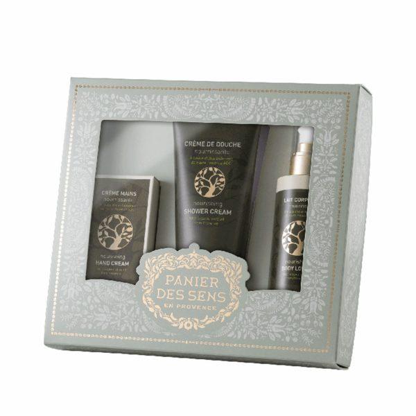 Подарочный набор Panier des Sens «Олива»: гель для душа, лосьон для тела, крем для рук