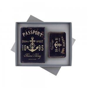 Подарочный набор мужской «Обложка на паспорт + картхолдер»
