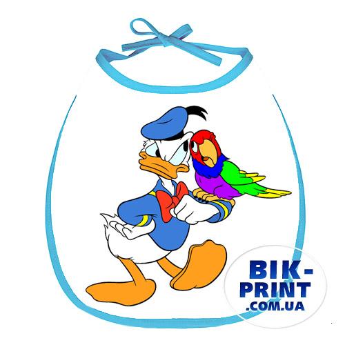 Слюнявчик «Дональд Дак с попугаем»